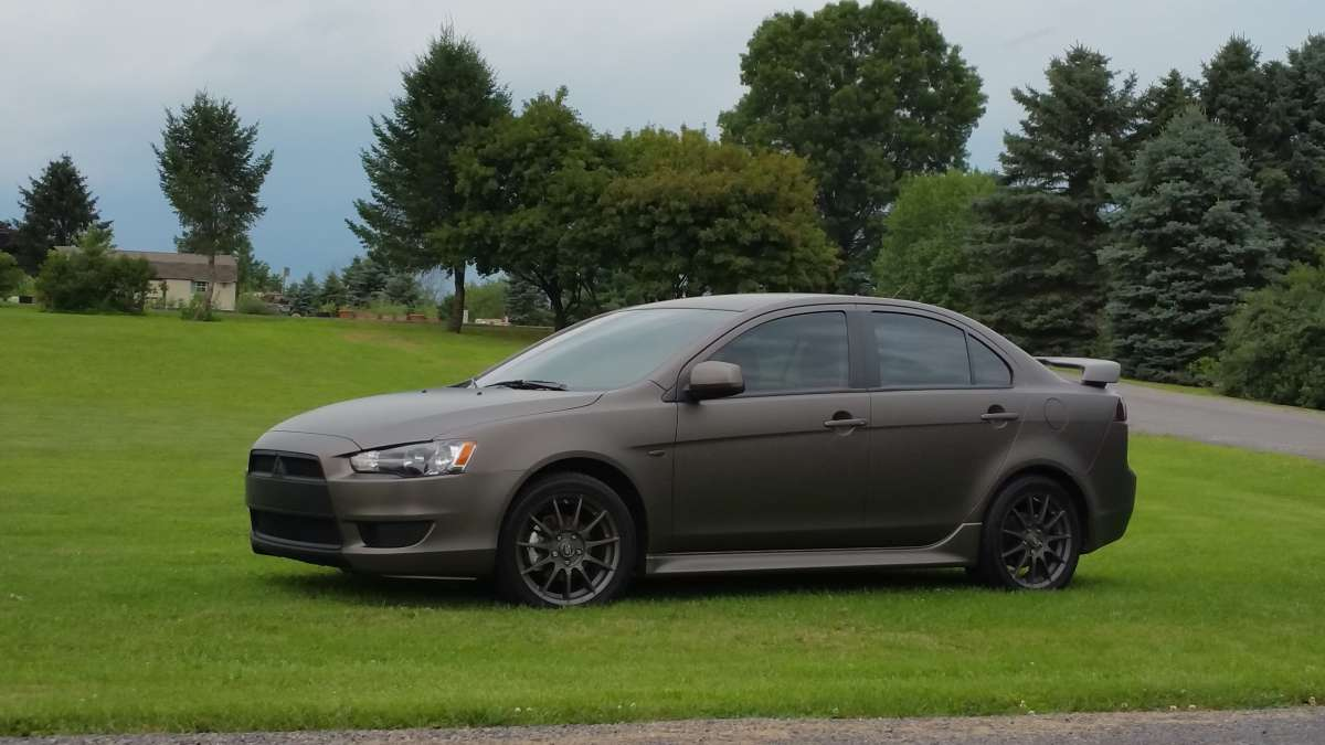 3M 1080C Color Change Wrap in Charcoal Metallic Matte on a Mitsubishi Lancer